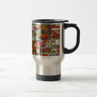 Vintage Flower Seed Packets Garden Collage Travel Mug
