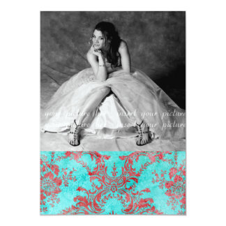 Vintage Flower Sweet 16 Party Photo Card Red Blue