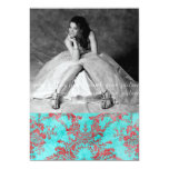 "Vintage Flower Sweet 16 Party Photo Card Red Blue 5"" X 7"" Invitation Card"