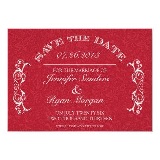 Vintage Flower Swirl Monogram RED Save the Date Card