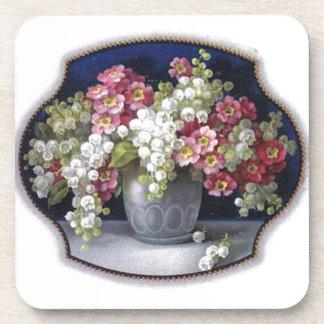 Vintage Flower Vase Bouquet Cork Coaster