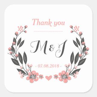 Vintage Flower Wreath Monogram Wedding Sticker