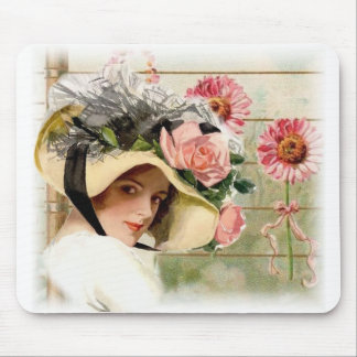 Vintage Flowered Hat, Mouse Pad