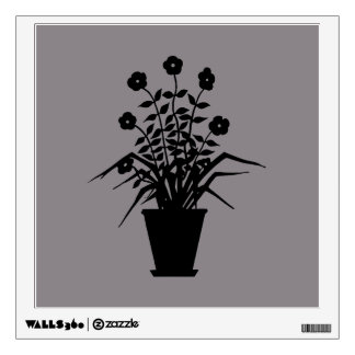 Vintage Flowering Plant Silhouette Custom Color Wall Decal
