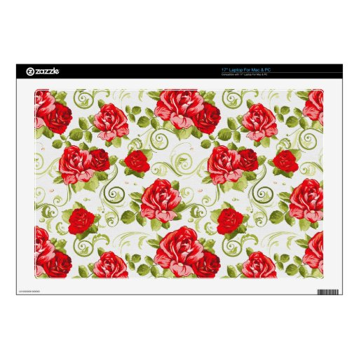 "vintage flowers 17"" laptop skins"