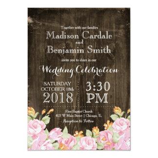 Vintage Flowers 2 Rustic Barn Wood Wedding Invites