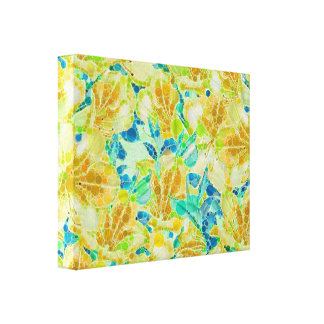 Vintage Flowers Abstract Pattern Canvas Print