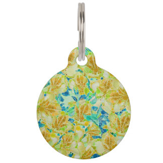 Vintage Flowers Abstract Pattern Pet Tag