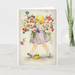 """Vintage Flowers All Occasion Note Card<br><div class=""""desc"""">Retro / Vintage Note Card.  Adorable little girl with two bunches of assorted flowers.  Perfect for Mother's Day,  Birthday,  Get Well,  or any occasion!</div>"""