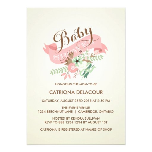VINTAGE FLOWERS AND BANNER BABY SHOWER INVITATION