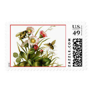 Vintage Flowers and Bees Postage