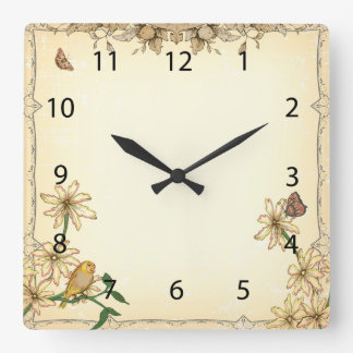 Vintage Flowers and Bird Square Wall Clock
