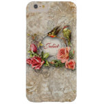 Vintage Flowers and Birds Personalized Barely There iPhone 6 Plus Case