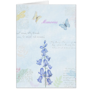 Vintage Flowers and Butterfly Watercolor Design Card