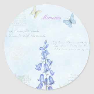 Vintage Flowers and Butterfly Watercolor Design Classic Round Sticker