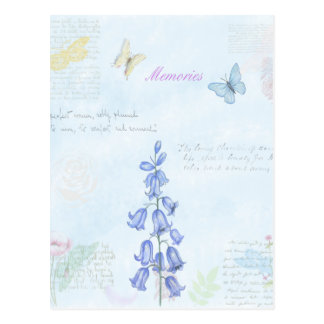 Vintage Flowers and Butterfly Watercolor Design Postcard