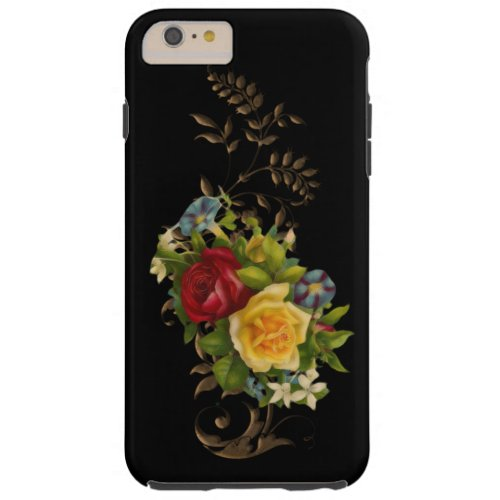 Vintage Flowers and Gold Leaves Phone Case