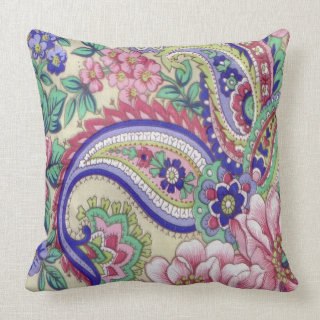Vintage Flowers and Paisley Throw Pillow