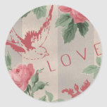 Vintage Flowers and Pink Birds Round Stickers
