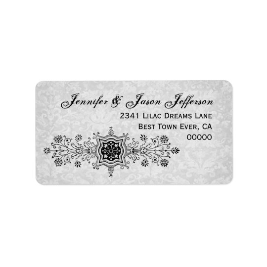 Vintage Flowers and Scrolls Wedding Label