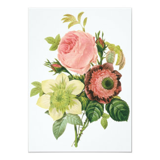Vintage Flowers, Anemone Roses Clematis by Redoute Card