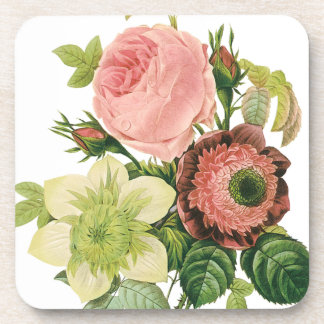 Vintage Flowers, Anemone Roses Clematis by Redoute Drink Coaster