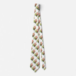 Vintage Flowers, Anemone Roses Clematis by Redoute Neck Tie