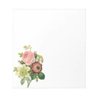 Vintage Flowers, Anemone Roses Clematis by Redoute Notepad