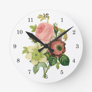 Vintage Flowers, Anemone Roses Clematis by Redoute Round Wall Clocks