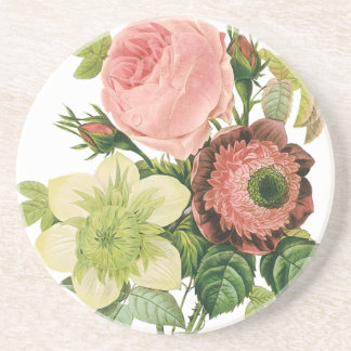 Vintage Flowers, Anemone Roses Clematis by Redoute Sandstone Coaster