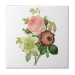 Vintage Flowers, Anemone Roses Clematis by Redoute Small Square Tile