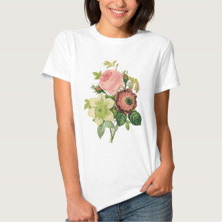 Vintage Flowers, Anemone Roses Clematis by Redoute T Shirt
