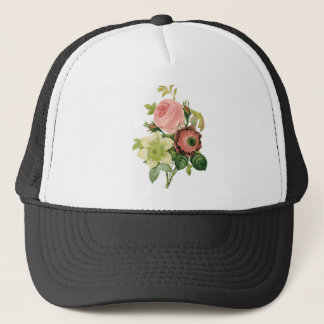 Vintage Flowers, Anemone Roses Clematis by Redoute Trucker Hat