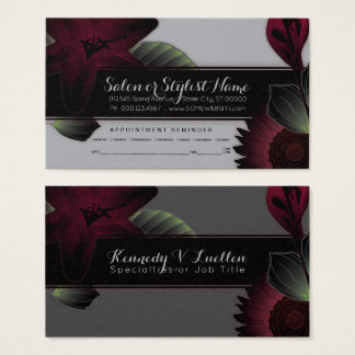vintage flowers appointment reminder business card