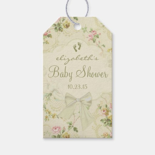 vintage flowers baby shower guest favor gift tags zazzle