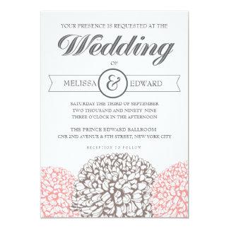 """Vintage Flowers Beige + Pink Wedding Invitation 5"""" X 7"""" Invitation Card"""