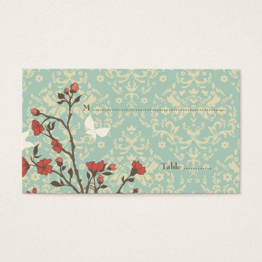 Vintage flowers bird + damask wedding place card