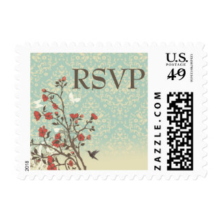 Vintage flowers bird + damask wedding rsvp stamps