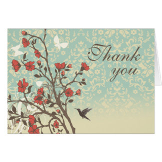 Vintage flowers bird + damask wedding thank you greeting card