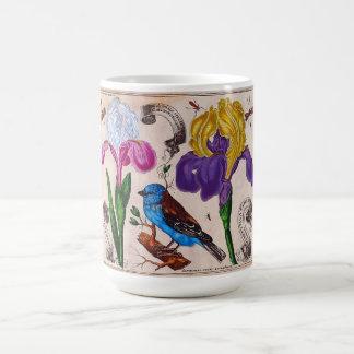 Vintage Flowers Birds Illustration Print Mug