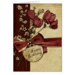 Vintage Flowers Birthday Greeting Card