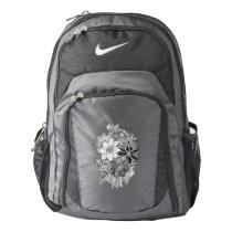 Vintage Flowers Black White Print Backpack