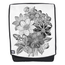 Vintage Flowers Black White Print Backpack
