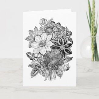 Vintage Flowers Black White Print Card