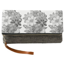 Vintage Flowers Black White Print Clutch
