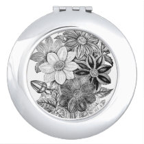 Vintage Flowers Black White Print Compact Mirror