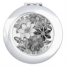 Vintage Flowers Black White Print Compact Mirror