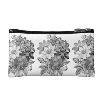 Vintage Flowers Black White Print Cosmetic Bag