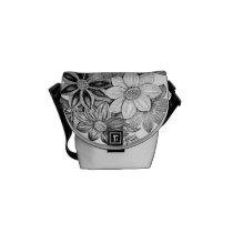 Vintage Flowers Black White Print Courier Bag
