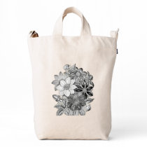 Vintage Flowers Black White Print Duck Bag
